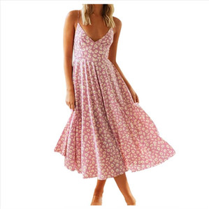 38 Woman Casual Sexy Dress Sleeveless Floral Print V Neck Dress Split Ruffle Beach Long Popular Fashion 2020