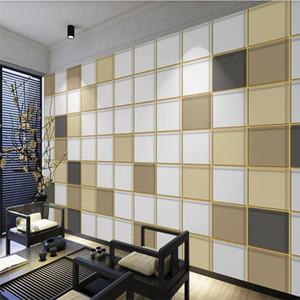 Modern 3d stereoscopic wallpaper minimalist geometric square light luxury golden embossed line background wall