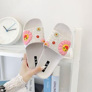 Sevimli Murakami Düz Flip Flop Moda Renkli Ayçiçeği Desen Ev Ayakkabı PVC Kadınlar Plaj Terlik Y200706