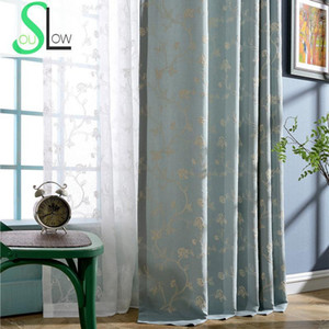 Slow Soul Blue Champagne white Enchanting Embroidered Curtains Curtain Floral For Living Room Tulle Kitchen Bedroom Luxury