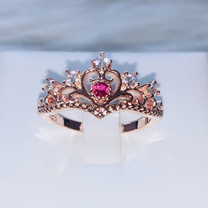 Princess Crown Style Rings For Women Luxury Hollow Out Rose & White Gold Color Fashion Jewelry Gift For Girls KBR212-M