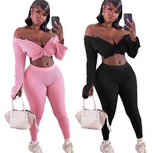Solid Color 2 Piece Set Women Tracksuit Crop Top Outfit Joggers Sweat Suits Women Workout set rib Lounge Wear winter clothes