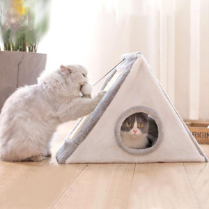 Multifunction Cat Bed Pet House warming Lounger Soft Fiber cat cave With Scratching post Sisal Toy Tower Good product for Pet1