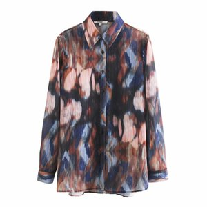 new fashion women vintage tie dye printing casual chiffon blouses metallic lines shirts female chic business blusas tops LS6258 201202