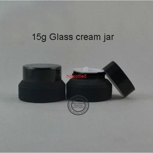 Hot sale 20pcs High quality 15g Black cream frosted glass spray bottle ,Empty Glass Bottle,makeup jar with aluminum capgood