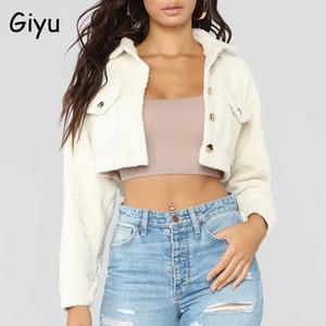 Giyu 2020 bolsillo de invierno abrigos de bolsillo para las señoras chaquetas recortadas de lana caliente de una sola ropa de exterior de labenada de un solo cuello de giro casual