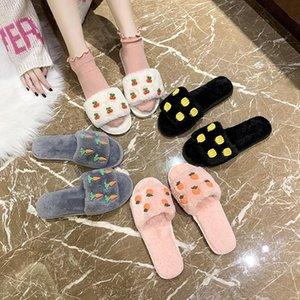 Shoes Slippers Flat Low Luxury Slides Fur Flip Flops Slipers Women Designer Massage Plush 2020 Soft PU Rome Basic Autumn Casual