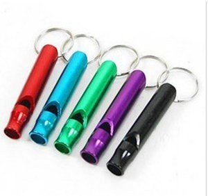 Mini Aluminum Alloy Whistle Keyring Keychain For Outdoor Emergency Survival Safety Keyring Sport Camping Hunting party favor GWB4423