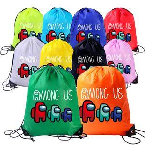 Entre nosotros Anime Animation Drawstring Backpack Estudiantes Chicos Niñas Impermeable Bolsas de cordón impermeable Organizador portátil Mochilas de mochilas E112301