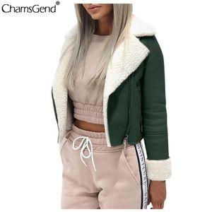 CHAMSGEND fashion Streetwear coats and jackets women long sleeve Fleece Cardigan coat ladies Casual Jacket Female short Outwea #
