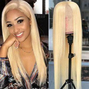 10-30 pulgadas transparente peluca de encaje brasileño onda de cuerpo 13 * 1 pelo humano pelucas delanteras color rubio 613 pelucas de cabello humano peruano recto