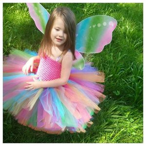Rainbow Girls Crochet Tutu Dress Baby Handmade 2Layer Fluffy Tulle Ballet Tutus with Butterfly Wing Set Kids Party Costume Dres Z1127