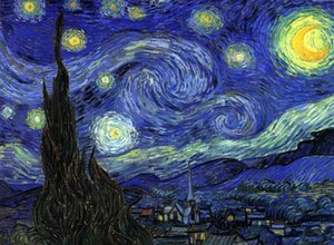 Vincent Van Gogh - Yıldızlı Gece - Soyut Manzara Ev Dekor Handpainted HD Baskı Yağlıboya Tuval Duvar Sanatı Tuval, F2012015
