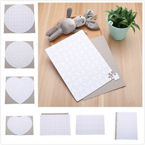 8 Styles Blank Sublimation Jigsaw Puzzle Heat Press Thermal Transfer Crafts DIY White Puzzles For Sublimation Photo Printing