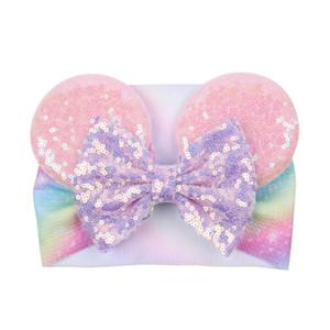 Big Bow Wide Haidband Cute Baby Girls Accessori per capelli Sequined Mouse Ear Girl Fascia Nuova Design Holidays Trucco Costume Band GWD4943
