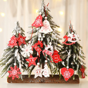 8 Styles White Red Christmas Tree Ornament 12pcs lot Wooden Hanging Pendants Angel Snow Bell Elk Star Christmas Decorations For Home LLS533