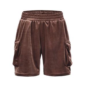 Pollo de bolsillo lateral de alta calle Pantalones cortos de verano para hombre Cintura elástica de Soild Pantalones de longitud de rodilla sueltos de gran tamaño Hip hop corto
