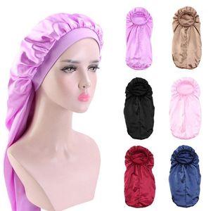 Mujeres Extra Long Satin Bonnet Sleep Gorra Colorido Floral para rizado Sombrero Silky Band Braids Night Hair Elastic Dreadlocks F3M51