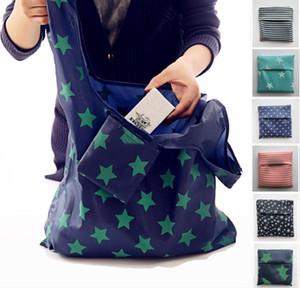 6styles Katlanabilir Kullanımlık Alışveriş Torbaları Eko Depolama Bakkal Çanta Yıldız Şerit Nokta Baskılı Alışveriş Tote Çanta 53 * 35 cm