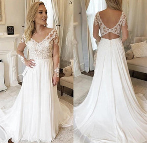 Plus Size Chiffon A Line Wedding Dresses 2021 V Neck Lace Appliques Long Sleeve Bridal Gowns Sweep Train Boho Garden robes de mariée