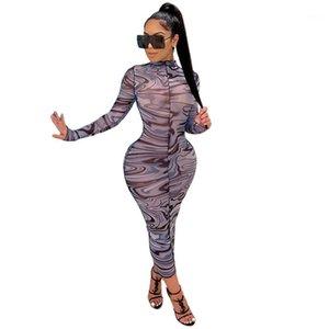 Vestidos para mujer Casual Skinny Leopard Print Womens Manga Larga Personal Cuello ByDcon Vestidos Sexy Sheer Designer