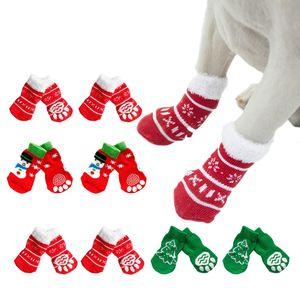 16PCS 8 Pairs Cute Printing Christmas Dog Socks Waterproof Non-Slip Puppy Socks Dog Paw Protectors Pet Accessories decoration