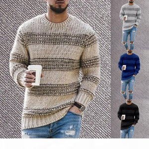 Striped Knitted Sweater Men 2020 Autumn O Neck Mens Knitwear Pullover Casual Slim Fit O Neck Knitting Jumper Sweaters Sueter XL