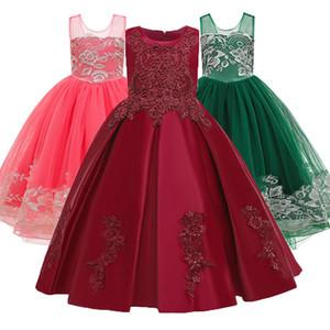 Teen Kids Dress Flower Long Beading Elegant Birthday Prom Gowns Dresses Girl Party Kid Evening Bridesmaid Princess Dress F1130