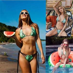 Ladies Green Snakeskin Printing Swimsuit Fashion Trend Tassel Split Sexy Sling Bikini Swimwear Designer Female New Beach Open Back 2Pcs Set