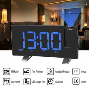 "7"" LCD Digital LED Projector Projection FM Radio Snooze Alarm Clock Dual Alarm"