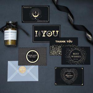 أسود برونز بطاقة المعايدة شكرا لك عيد ميلاد سعيد أنا أحبك طباعة دعوات الزفاف + بطاقة مغلف بطاقة نعمة بطاقة EWA2458