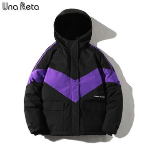 Una Reta Winter Jacket Men New Casual Loose Patchwork Parka Coat With Hooded Hip Hop Men Clothes Harajuku Warm Jackets For Men Y1112