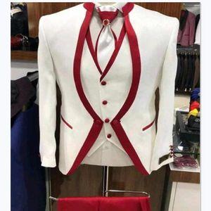 White Red Rim Stage Clothing For Men Suit Set Mens Wedding Suits Costume Groom Tuxedo Formal (Jacket+pants+vest)