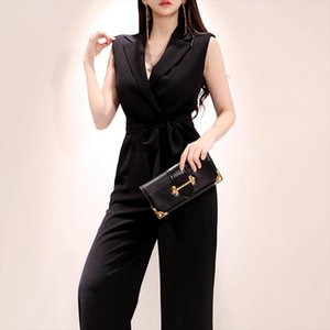 Fleabag Jumpsuit For Women Loose Long Pant Suit overalls Sleeveless V Neck Gothic One Piece macacao feminino
