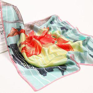2020 Hangzhou Silk Square Scarf Bag Bandana 53*53cm 100% Real Silk Neckerchief Wraps for Ladies Printed Neck Scarf Kerchief