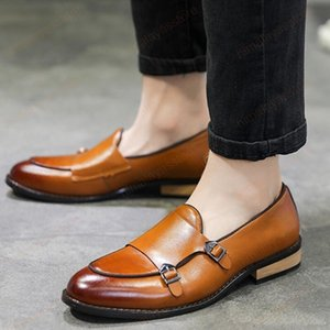 Plus Size 38-44 Men Wedding Dress Shoes Microfiber Leather Formal Business Pointed Toe Man Shoes Men's Metal Buckle Oxford Flats