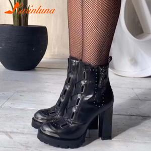 Kadın Ayakkabı Moda Yeni Satışta INS Sıcak Satış Yuvarlak Ayak Shoelace Kalın Yüksek Topuklu Anel Çizmeler Perçin Platformu Sonbahar Kış