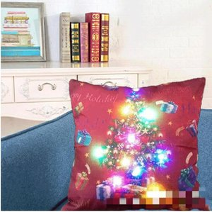LED Pillow Case Cover Luminous Linen Pillows Covers Creative Light Cushion Cover Christmas Pillow Cases Home Sofa Car Decorations PPC4331