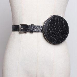 SeeBeautiful New Fashion 2020 Autumn Winter Metal Pin Buckle Removable PU Leather Mini Round Bag Girdle Waist Belts Women N979