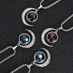 Twelve Zodiac Constellations 12 Pcs Fashion Horoscope Time Alloy Noctilucence Pendant Necklace Gift For Man Woman
