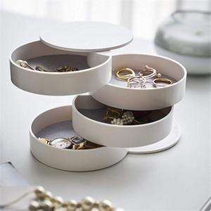 Women Jewelry Storage Box New Design Fashion 4-Layer Rotatable Jewelry Accessory Storage Tray With Lid Birthday Gift For Women Z1123