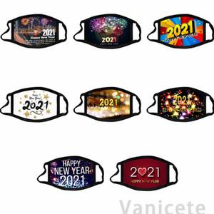 Algodón 2021 Feliz Año Nuevo Máscaras Moda Lavable Diseñador Paño Cara Mascarillas Polvo Cara Adulto Regalo Para Mujeres Hombres 200pcs T1I3379