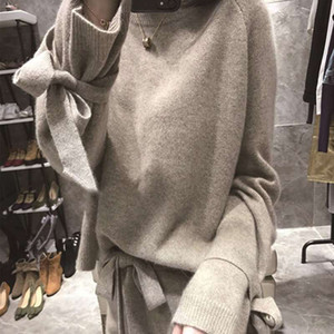 New winter High Quality Cashmere knitted Two piece set Bow Long sleeve pullover Sweater + Elastic wiast Tracksuits pants suit T200916