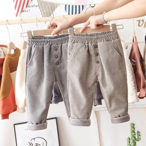 New Korean Little Kids Girls Boys Fashion Fleece Pants Kids Korean Winter Front Buttons Trousers Unisex Children Girls Pants