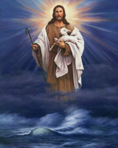 Catholic picture CHRIST OVER WATER W  LAMB Home Decor Handcrafts  HD Print Oil Painting On Canvas Wall Art Canvas Pictures 201126