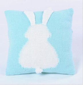 Knitted Pillow Cases Wool Pillowcase Baby Pillow Rabbit Pillow Children Stereo Ear Knitted Cushion Cover Home Sofa Bed Decoration DDB4084