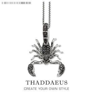 Scorpion Link Chain Necklace,925 Sterling Silver Fashion Jewelry Europe Style Rebel Cross Bijoux Gift For Men & Women Friend Z1126
