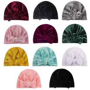 2020 Unisex Cute Baby Soft Beanie Hedging Caps Big Bows Autumn Winter Warm Kid Cap Newborn Fleeve Hat Mixed Colors