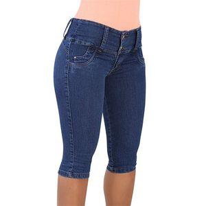 Fashion 2020 Summer Women High Waist Skinny Jeans Knee Length Hole Ripped Denim Capri Slim Streetwear Stretch Casual Pants J1207
