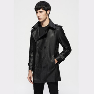 spring and autumn new 2021 Men thin belt lapel leather windbreaker male long section Korean jackets Mens slim trend Trench coat